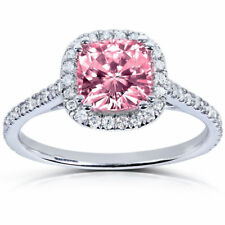 Certified 2.00ct Cushion Pink Sapphire & Diamond 14K White Gold Engagement Ring