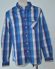 Bench Mens Casual Shirt - BLUE CHECK - SIZE - MEDIUM - NEW