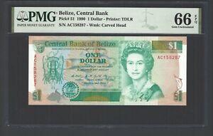Belize One Dollar 1990 P51 Uncirculated Grade 66