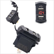 Dual USB Charger Rocker Push Switch Style Car Marine Boat RED LED DC12V/24V