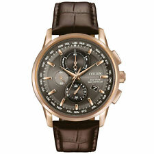 Citizen Men's Eco-Drive A-T Chronograph Brown Leather Strap Watch AT8113-04H