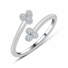Three-Stone Micky Mouse Adjustable toe Ring 14k White Gold Gp Round Diamond