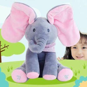 Peek-a-boo Soft Elephant Doll Baby Plush Toy Singing Stuffed Animated Kids Gift