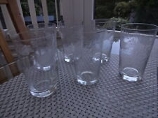 6 x VINTAGE/RETRO ETCHED FLOWERS TALL TUMBLER DRINKING GLASSES