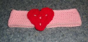 Brand New Crocheted Pink and Red Heart Dog Collar LARGE 4 Dog Rescue Charity