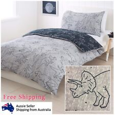 Double Bed Quilt Cover Set Reversible Dinosaur Print Kids Room Bedding Bedspread