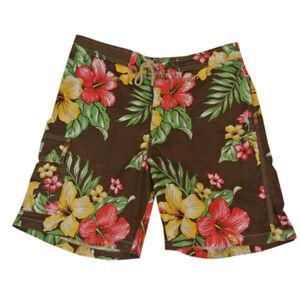 Polo Ralph Lauren board shorts swim trunks men's small brown Floral