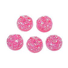 6 Druzy Cabochons Faux Drusy Flat Backs Pink Druzy Quartz Resin Flatbacks 12mm