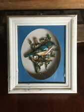 Vintage Shadow Box 3D White Framed Blue Turquoise Bird Branches Blossom Bluebird