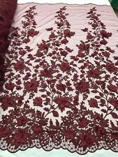 3D Flower-Floral Embroidered Lace Burgundy Mesh Fabric Wedding Dress By The Yard