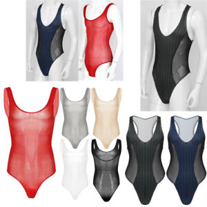 Mens Sexy Bodysuit Leotard See-through Thong Mesh One Piece Swimsuit Swimwear