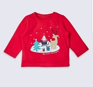 Baby Boys Girls My First Christmas Top - Age 0-3 Months - M&S - BNWT !!!