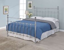 5ft Kingsize silver chrome metal bed frame with finials - Memory foam mattress