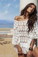 MELISSA ODABASH White lace crochet Dress Cover Up Beach Dress Kaftan Bikini BNWT