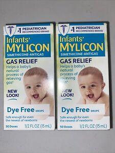 Lot 2 Infants Mylicon Simethicone Anti-Gas Relief Dye Free Drops 1/2 oz 100 Dose