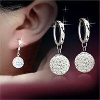 Women Silver Round Crystal Hoop Drop Dangle Earrings Wedding Bridal Jewelry NEW