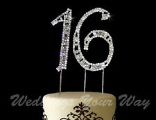 16th Birthday Rhinestone Crystal Cake Topper Bling Number 7cm Silver Diamante