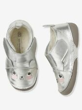 Baby Soft Leather Slippers - grey medium metallized UK 4J EU 20 CH07 05