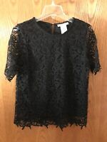 Womens PHILOSOPHY Black Lace Top Shirt Blouse Size Small