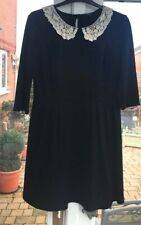 FAB BLACK GEORGE DRESS 14 WITH CREAM LACE & BEADS COLLAR WORN ONCE NEXT DAY POST