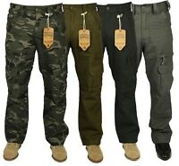 Mens KAM Combat Cargo Jeans Casual Outdoor Multi Pockets Army Camo Work Pants