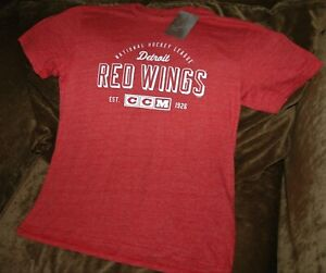 Detroit Red Wings throwback t-shirt men's large NEW with Tags CCM NHL red