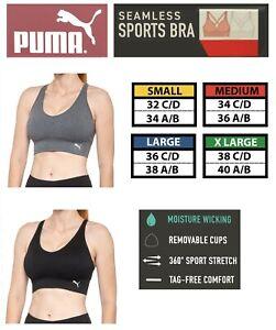 Puma Performance Sport Bra Seamless DryCell Wicking Seamless No Tag Convertible
