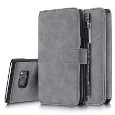 Echt Leder Multifunktion Handy Tasche Wallet Flip Case Schutz Hülle Bumper Etui