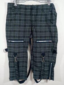 Women's Tripp NYC Daang Goodman Hot Topic Cropped Plaid Dark Green Pants Size 7