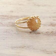 Golden Natural Yellow Rutile Quartz Gemstone 14k Gold Filled Ring Women