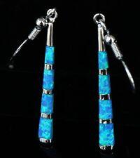 Blue fire opal drop earrings. sterling silver