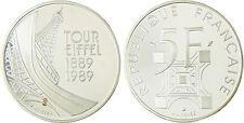 5  FRANCS  ARGENT  TOUR  EIFFEL  1989  BE  ,  FDC , EN  CAPSULE  D'ORIGINE