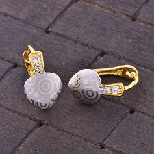 Womens Girls crystal silver heart 14k gold filled hoop earrings earings  fashion
