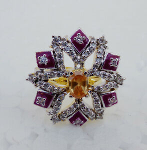 Indian Fashion Jewelry Bollywood Party Wear Diamante Ring Golden Adjustable pr41