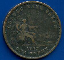 1852 Lower Canada 1 Penny / 2 Sous 'Quebec Bank' Coin Token