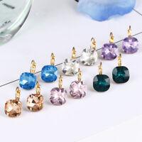 Fashion Rhinestone Austrian Crystal Zircon Earrings Women Stud Hoop Jewelry Gift