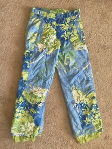 Looks New Womens Obermeyer Ski Pants Sz S 4 Green Blue Floral Snowboard Snow