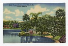 Tropical Lake Lucerne in Orlando, Florida Color Linen Postcard