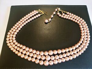 😍 STUNNING VINTAGE ESTATE champagne? COLOR PEARL BEAD MULTI STRAND NECKLACE