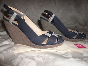 Pink Studios PAULETTE wedge slingback sandals size 10 navy blue