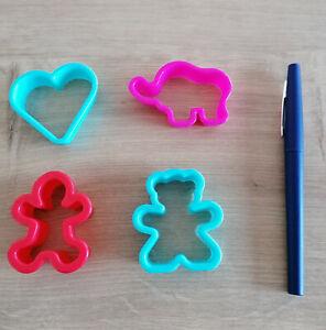 Lot de 4 emporte-pièces en plastique: coeur + ours + éléphant + bonhomme