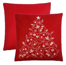 """Embroidered Christmas Tree Light up Wool Effect Red White 18""""-45cm Cushion Cover"""