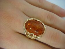 14K YELLOW GOLD OVAL AMBER LADIES VINTAGE RING 6.0 GRAMS SIZE 6.25