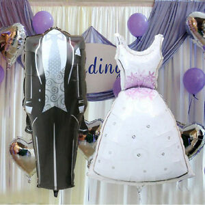 Bride and Groom Dress Shape Foil Helium Balloons Wedding Decor Supplies DSUK