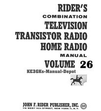 Riders Combination Manual * Volume 26 * Television Transistor Home Radio * CDROM