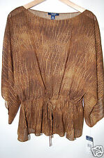NWT CHAPS Womens Sexy Snakeskin Peasant Brown Tunic Shirt Top Batwing S $69 NEW