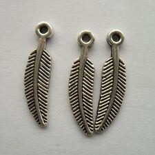 50pcs Tibetan silver feather charm pendant 11x10mm