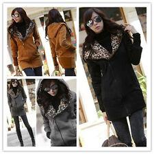 Long Warm Leopard Print Hoodie Jacket Outwear Sweatshirt Tops Coat Womens Ladies