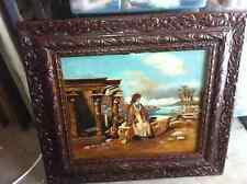 Original 1800s Canvas Painting Ethnic Woman o Rock LOOK