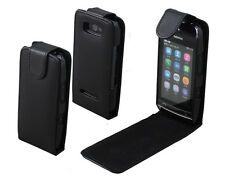Black Leather Flip Case cover for Mobile NOKIA ASHA 305